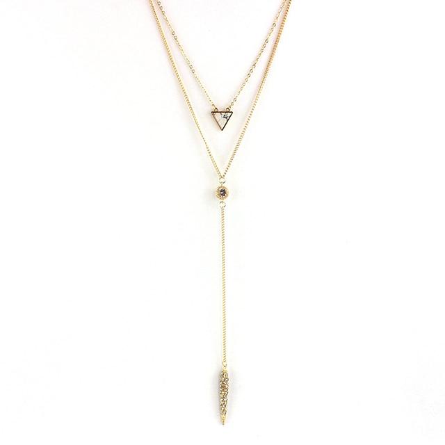 Chicvie Кристальные ожерелья и подвески многослойные золотого