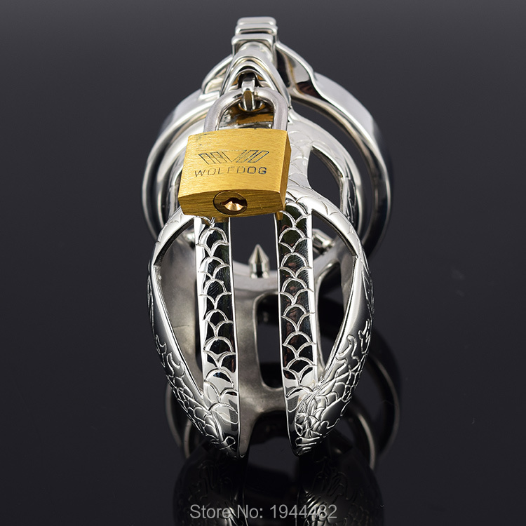 SODANDY Small Chastity Device Stainless Steel Cock Cage Metal Male Chastity Belt Penis Ring Bondage Sex Toys Dragon Totem Lock 5