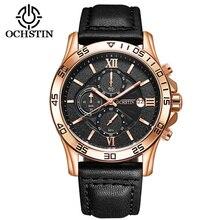 OCHSTIN Luxury Brand Men's Quartz Date Clock Man Fashion Leather Pilot Military Sport Wrist Watch Saat Montre Horloge  068A