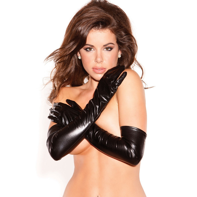 Sexy Patent leather Women Gloves Shiny Over The Elbow Tighten Gloves Sexy Queen Exotic Accessories Lady Sexy Lingerie ST10