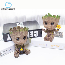 Strongwell Baby Groot Flowerpot Action Figures Home Decoration Cute Model  of The Galaxy Cute Model Toy Flower Pot Drop цена