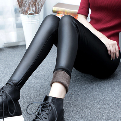 2019 patchwork fake leather pant ankle length Slim pants winter Thick Warm Push Up Women fashion black pencil cotton   Leggings
