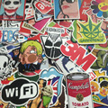 2016 Fashion cool50- 100 pcs PVC stickers for Travel Suitcase Wall Pencil Box Bike Phone Sliding Plate of mixed graffiti Styling
