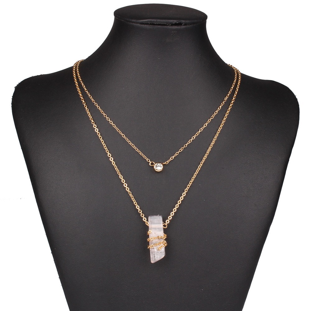 Natural Stone Gold Chain Maxi Necklace Women Statement ...