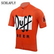 Duffเบียร์ขี่จักรยานJersey Orange Retroฤดูร้อนเสื้อแขนสั้นสวมใส่เบียร์Jerseyแผนที่Jerseyขี่จักรยานเสื้อผ้าSchlafly