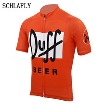 duff beer cycling jersey orange retro summer short sleeve bike wear beer jersey road jersey cycling clothing schlafly