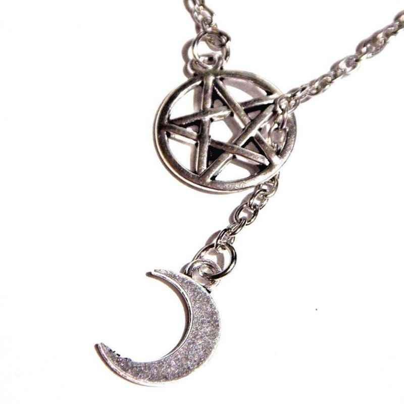 Ngoại giáo Wiccan Phù Thủy Pentagram Mặt Vòng Cổ Vintage Bạc Gothic Choker Lariat Phong Cách Mặt Trăng Collares Vòng Đeo Cổ Cho Nữ Trang Sức