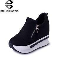 BONJOMARISA primavera outono sapatos de plataforma de moda com zip casuais doces sapatilhas rasas mulheres sapatos tamanho 35-40