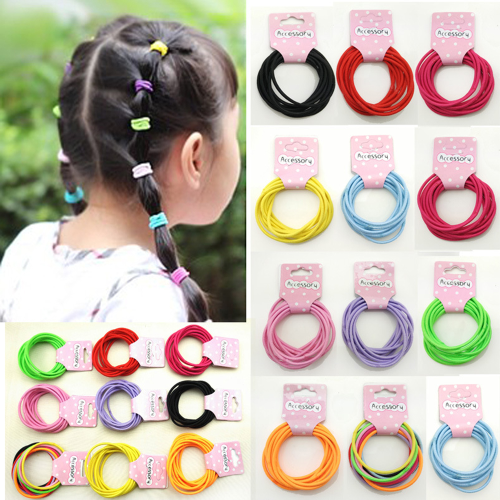 suti 10PCS Random MIX Candy Color Women Elastic Cloth Hair Bands Scrunchie Hair Tie Ring Rope Girls Ponytail Holder Casual