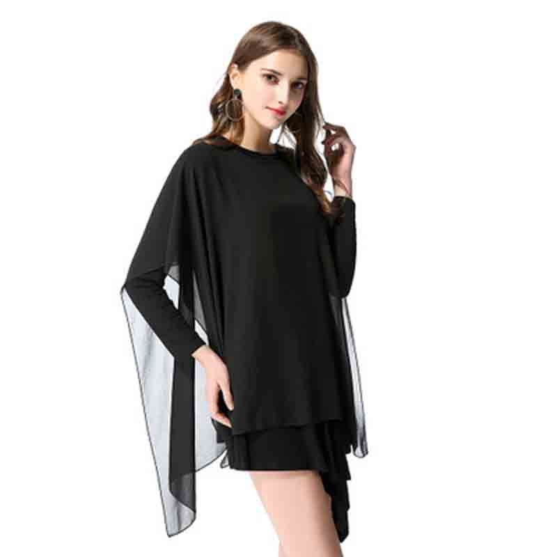 Women clothes 2019 New round collar Chiffon irregular long sleeved blouse for women in spring vintage dress party dress in Dresses from Women 39 s Clothing