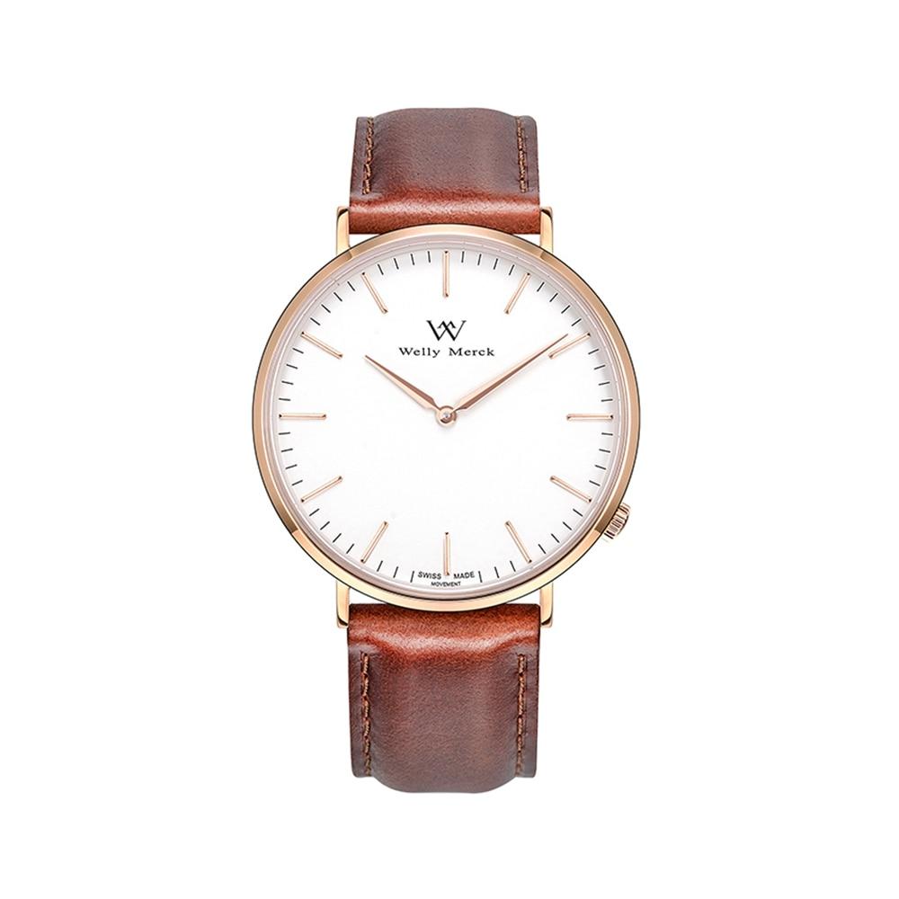 Welly merck Мода высокое качество кварцевые Кожаный браслет Повседневное Для женщин часы женские наручные часы