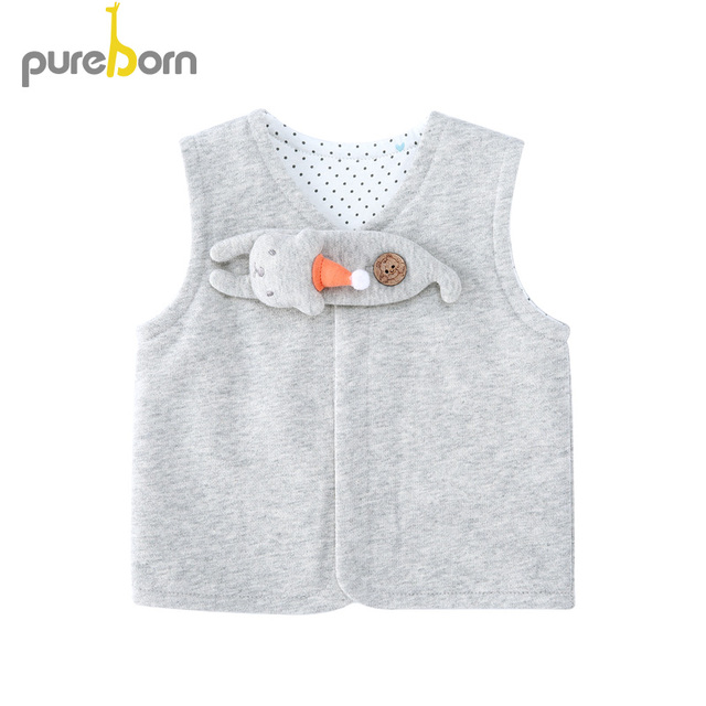 Pureborn Baby Vests Jackets Fashion Waistcoat For Boys Girls Toddler Clothes Kids Tops Casual Cartoon Cat Spring Autumn