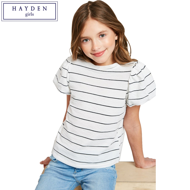 Hayden Girls Striped Tee Shirt With Short Sleeves Summer -1266