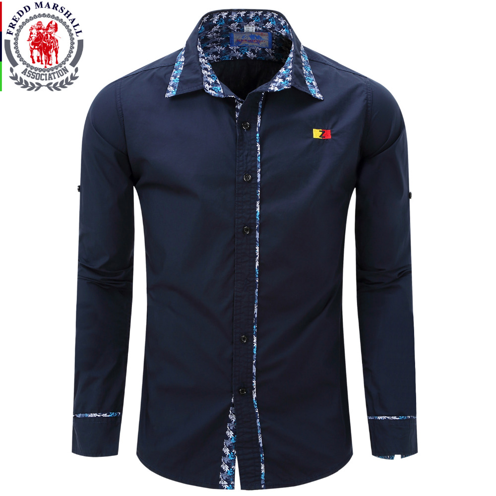 Fredd marshall europe size men shirt new men 39 s fashion for Long sleeved casual shirts
