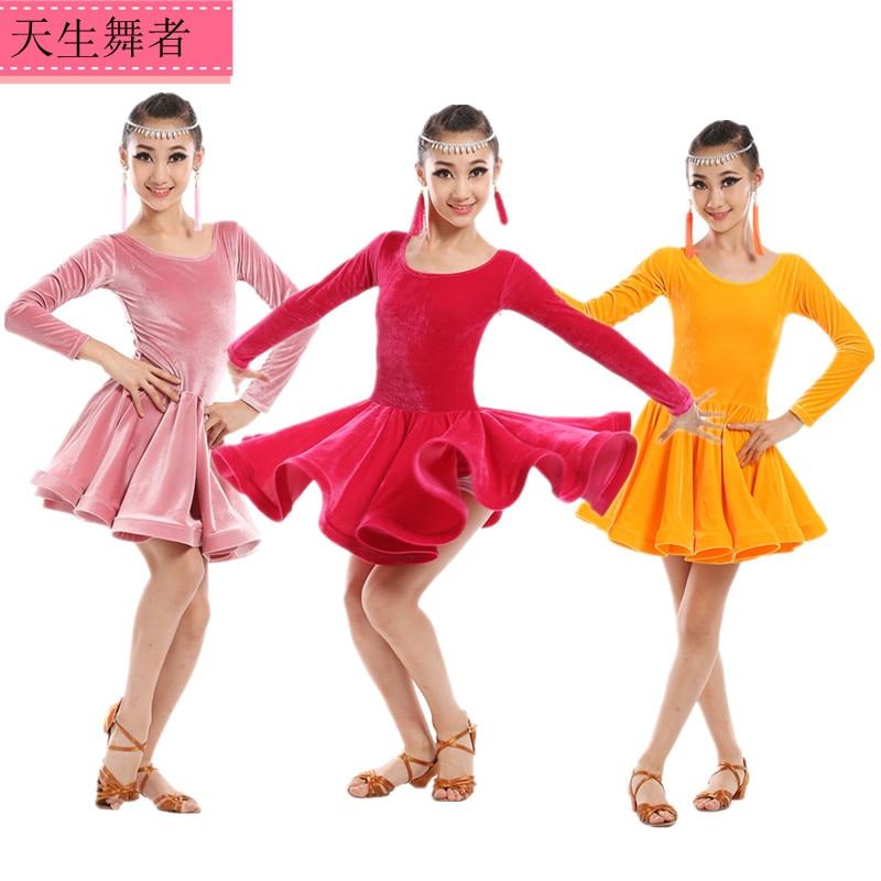 dd99e4b76 Girl Long Sleeves Standard Latin Dance Dress Children Ballroom Dance ...
