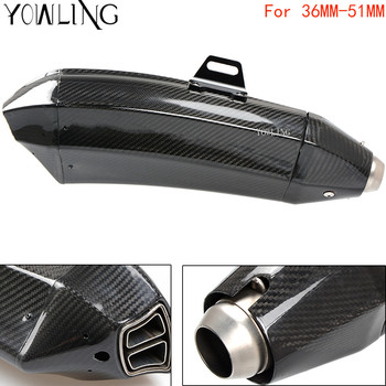 Universal Inlet 36MM-51mm Motorcycle Exhaust Muffler Pipe Real Carbon Fiber Motorbike Muffler Escape with DB Killer