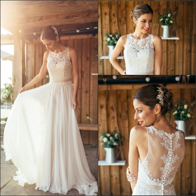 2016 New Elegant Chiffon Summer Beach Wedding Dresses Lace Top