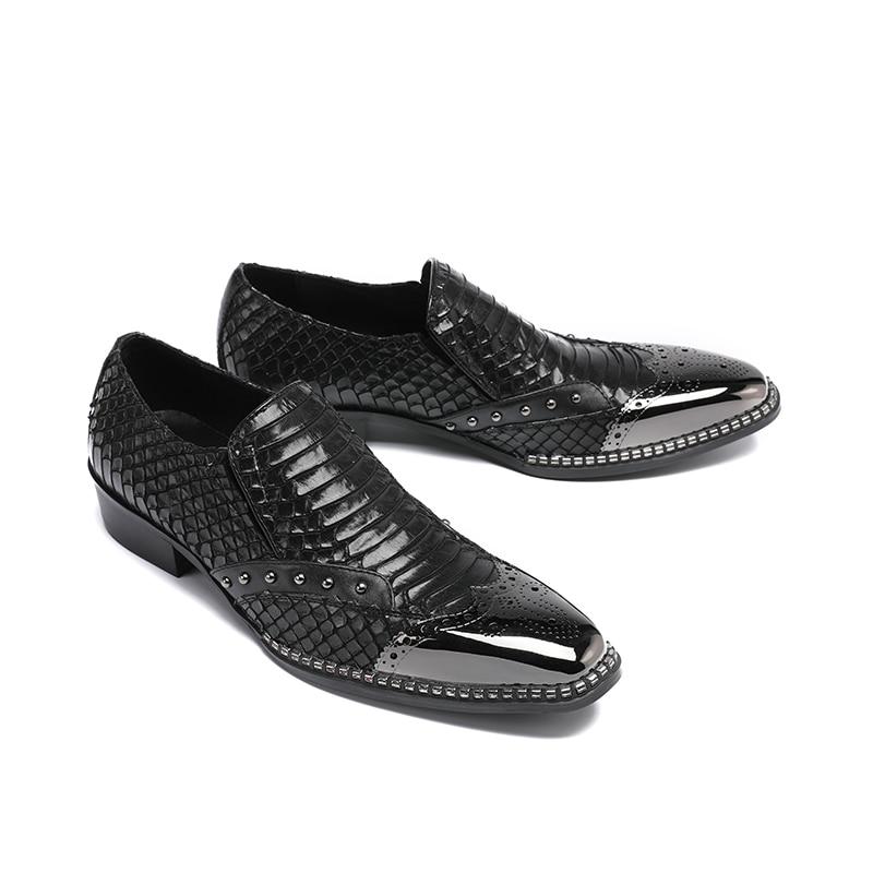 De Cuero Negocios Formales Genuino Christia Boda Remaches Tamaño Vestido Hombres Zapatos Negro Nuevo Bella Gran Italiano Los Ctt8q