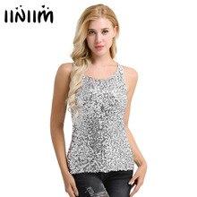 9 Color Women Sparkle & Shine Glitter Sequin Embellished Sleeveless Round Neck Vest Tank Tops for Fashion Moto Style Clothing