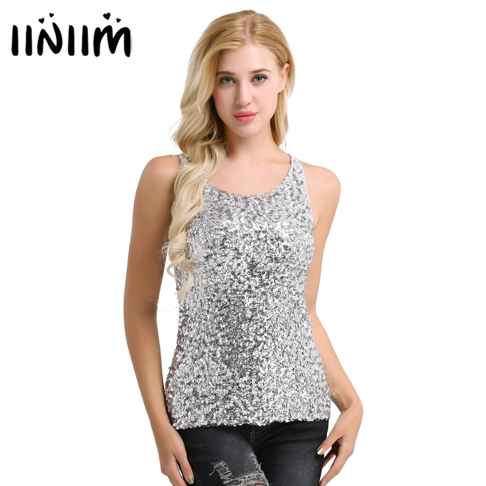iiniim Womens Shine Glitter Sequin Embellished Sleeveless Vest Tank Tops Fashion Style Clothing for Cocktail Party Clubwear
