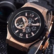 Nouveaux hommes de luxe en or Rose automatique mécanique saphir tourmilliards montres verre retour voir à travers le cuir noir AAA +