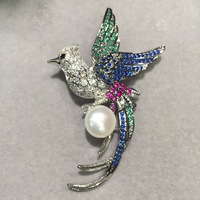 Bird Brooch Natural Fresh Water Pearl Copper With Cubic Zircon Multi Color Fashion Women Jewelry Free