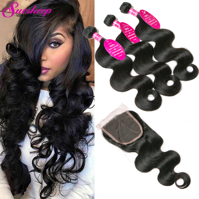 Grade 7A Brazilian Virgin Hair Body Wave With Closure Cheap Brazilian Hair 3 Bundles With Closure Human Hair Weave With Closure
