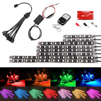 Motorcycle Car Multi Color LED Light Kit 8pcs Strips Glow Neon Lights Flexible Lamp With Remote