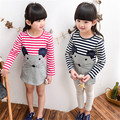 2016 Rushed Button Elsa Dress Vestidos The Spring Of New Girl Super Mouse Striped Long Sleeved Girls Clothes Summer Q179