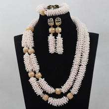 New Trendy Fashion Cream Beige Seed Beads African Jewelry Sets 18K Gold Plated Costume Necklace Jewelry Set Free ShippingABL731