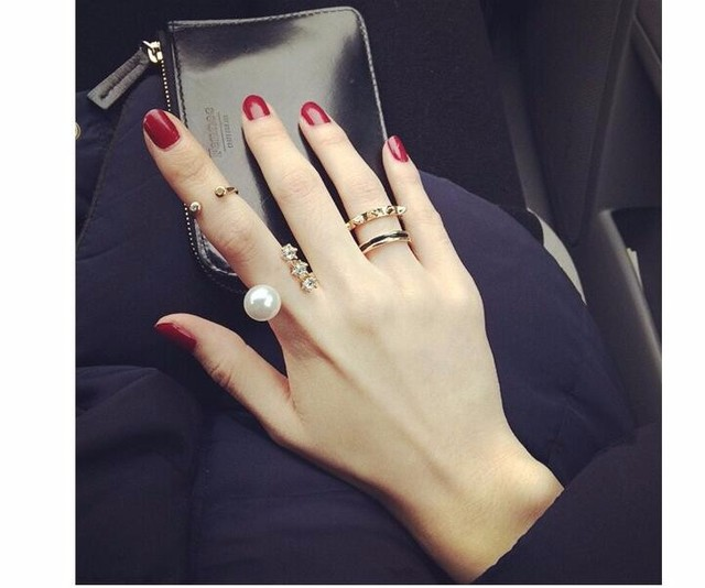3 pcs/set Personalized rivets ring, Artificial imitation pearl index finger open