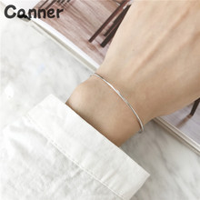 Canner 925 Sterling Silver Thin Opening Bracelet Simple Cuff Bracelet For Women Silver Color Bangle Fashion Jewelry A37 недорого