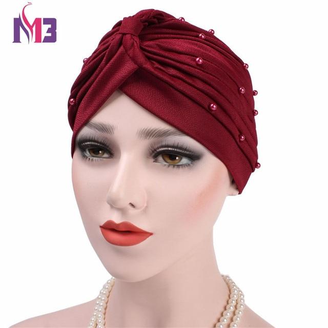 5fcd51e0019 Women Pearl Turban Breathable Wrinkle Beaded Headband Hat Bandanas Muslim  Turban Hijab Turbante Hair Accessories Headwear