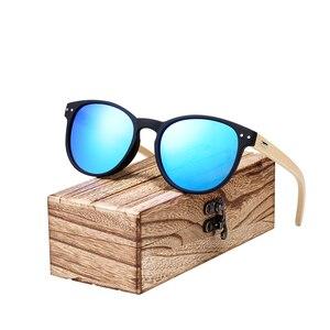 Image 3 - BARCUR Vintage Round Sunglasses Bamboo Temples Polarized Wood Sun glasses Men Women Shades oculos