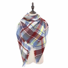 2016 New Za Luxury Brand Winter Fashion Tartan Women's Scarf Blankets Soft Cashmere Warm Winter Square Plaid Brand Wrap Shawl