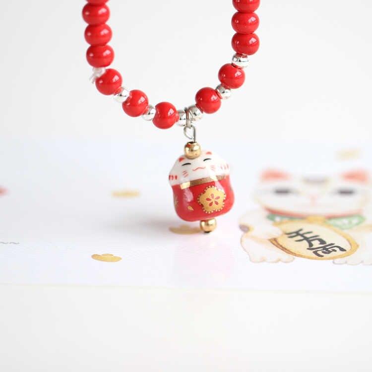 Handmade Keramik Colorful Beruntung Kucing Beads Gelang Lucu beruntung Gelang untuk Wanita gadis hadiah terbaik untuk her