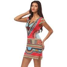 3254148f87c Women Dashiki Dress 2018 Ladies Short V-  Read More