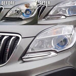Image 2 - พอดีสำหรับOpel Vauxhall Mokka/Buick Encore Chromeด้านหน้าTrim Head Lamp Bezel Granish Molding 2012 2013 2014 2015 2016