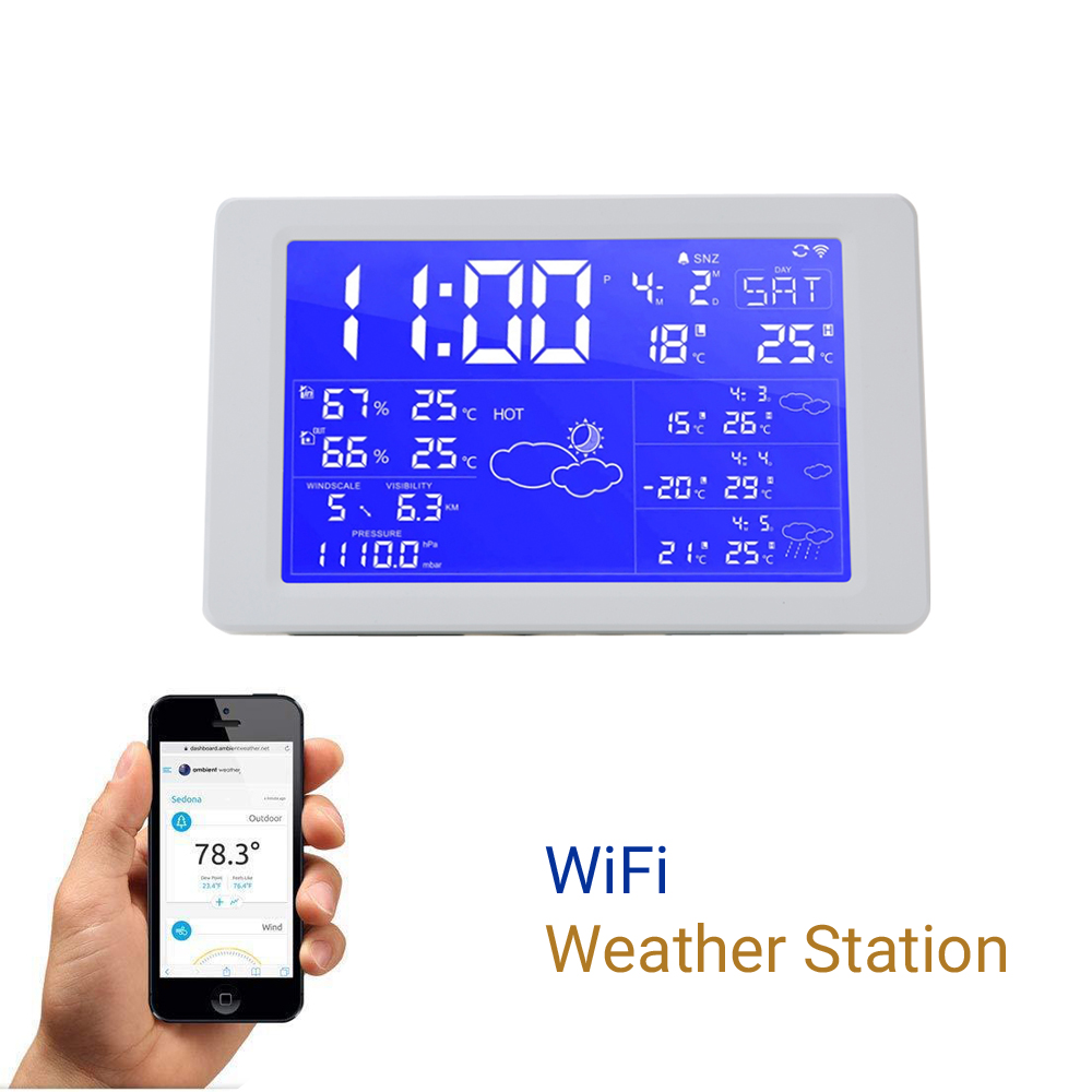 WiFi Household Thermometers Weather Station Clock Digital Thermometer Indoor Outdoor Temperature Humidity Meters Color Alarm