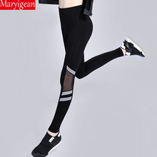 Maryigean Sexy Women Leggings Gothic Insert Mesh Trousers Big Size Black Push Up Sportswear New Reflective Fitness Leggings side panel mesh insert camo leggings