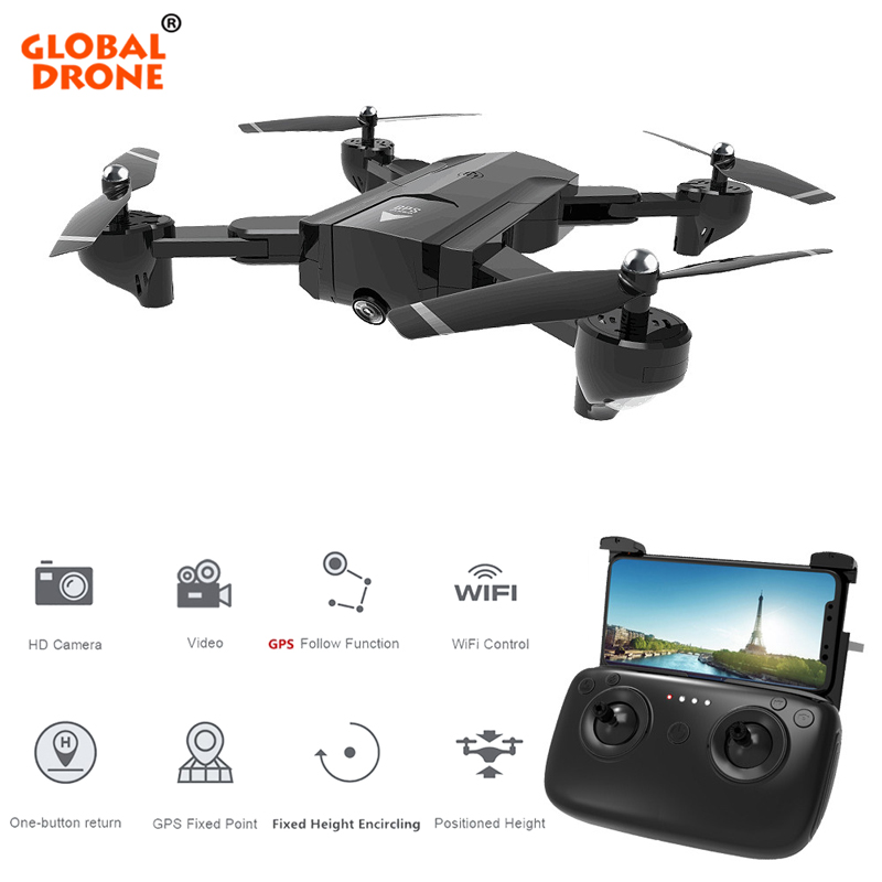 Global Drone GPS Auto Follow Me Fixed Point Wifi FPV Drones With Camera Foldable RC Helicopter VS Hubsan H501S Quadcopter