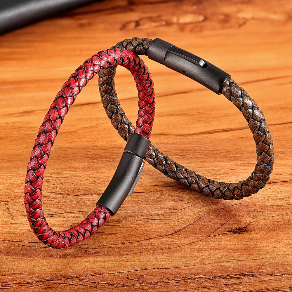 XQNI New Classic Style Men Leather Bracelet Simple Black Stainless Steel Button Neutral Accessories Hand woven