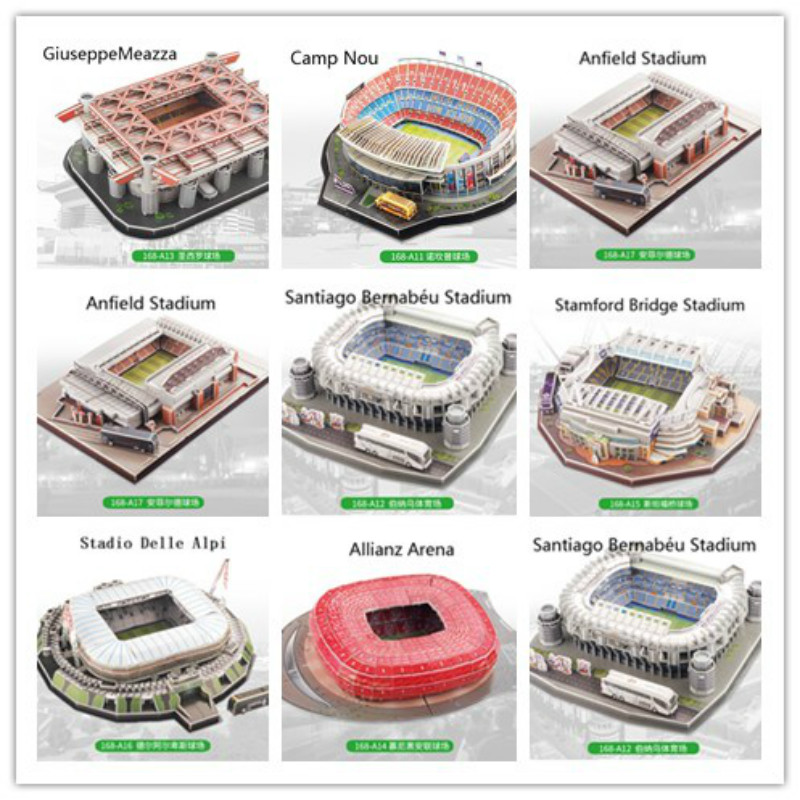 3D Puzzle European Soccer Club Venues JUV DIY Model Puzzle Toys Paper Building Stadium Football Soccer Assemble Game Gifts Set стоимость