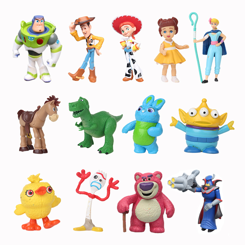 3/7/9/10/12 Pcs/Set Toy Story 4 Buzz Lightyear Woody Jessie Lotso Bullseye Horse Forky PVC Action Figure Toys Collectible Model