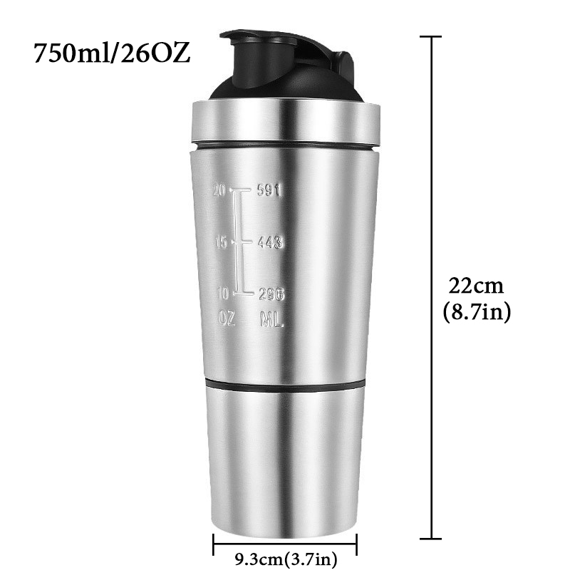 26OZ Water Bottles Detachable Whey Protein Powder Sport Shaker Bottle For Stainless Steel Cup Vacuum 26OZ Water Bottles Detachable Whey Protein Powder Sport Shaker Bottle For Stainless Steel Cup Vacuum Mixer Outdoor Drinkware
