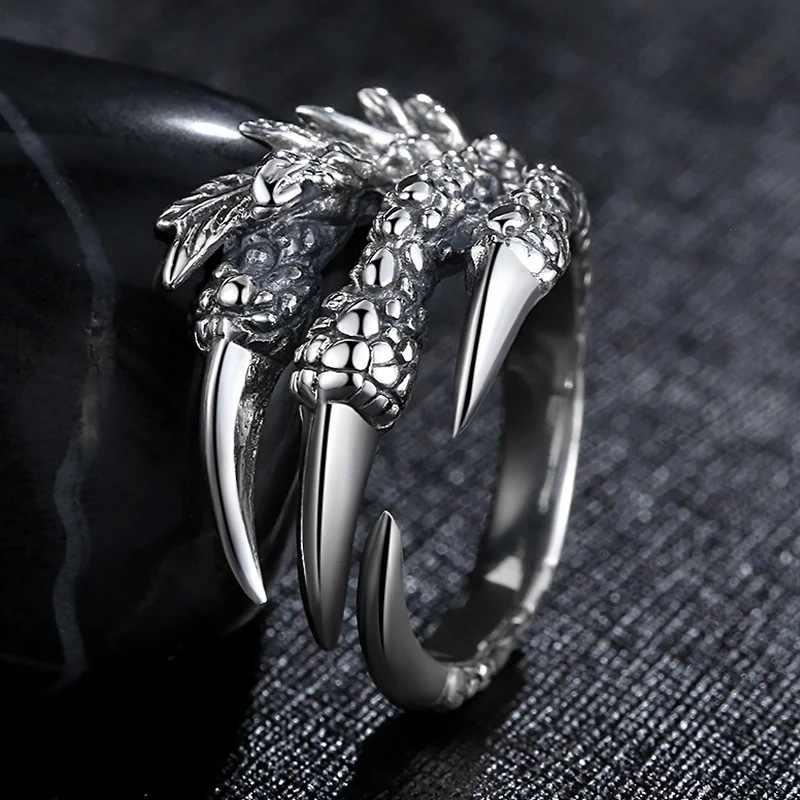 Blucome moda retro anel garra dominador antigo cor prata unisex personalidade dos homens das mulheres águia garra anéis abertos melhores presentes