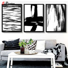 Modern Wall Painting Abstract Black & White Print Scandinavian Poster Watercolour Wall Art Picture Living Room Home Decor(China)