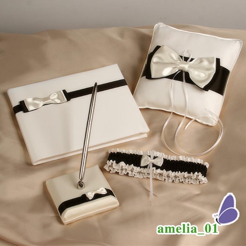 Pcs nuptiale bowknot anneau oreiller, livre d'invité, ensemble de stylo pour la décoration de mariage nuptiale anneau oreiller produit 3 pièces/ensemble