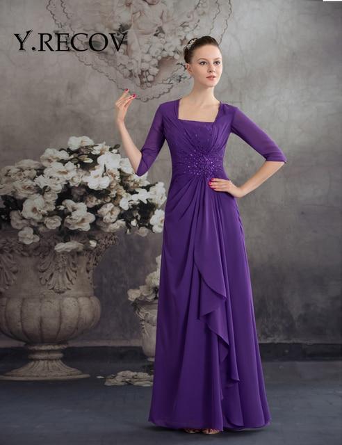 Mother of Groom Formal Dresses YD2087 A line Half Sleeve Purple ...