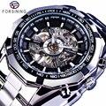 Forsining 2017 Silber Edelstahl Wasserdicht Herren Skeleton Uhren Top Marke Luxus Transparent Mechanische Männliche Armbanduhr